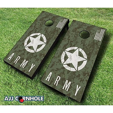 AJJCornhole 10 Piece US Army Digital Camo Cornhole Set; Navy