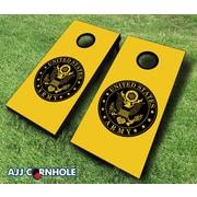 AJJCornhole 10 Piece US Army Seal Cornhole Set; Black