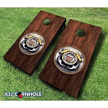 AJJCornhole 10 Piece Coast Guard Medal Cornhole Set; Orange