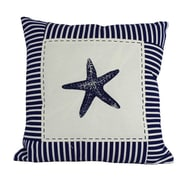 Handcrafted Nautical Decor Starfish Nautical Stripes Decorative Throw Pillow