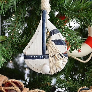 Handcrafted Nautical Decor Wooden Rustic Sailboat Model Christmas Tree Ornament; Blue