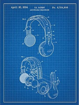Inked and Screened Music and Audio 'Adjustable Headphone' Silk Screen Print Graphic Art