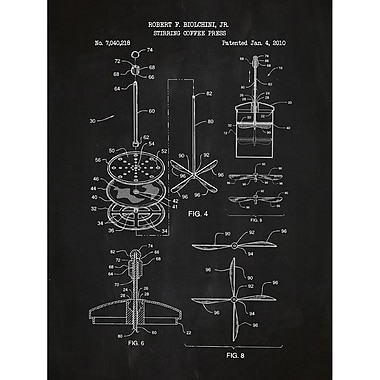 Inked and Screened Vintage Inventions 'Stirring Coffee Press' Silk Screen Print Graphic Art