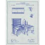 Inked and Screened Vintage Inventions 'Machine for Tabulating' Silk Screen Print Graphic Art