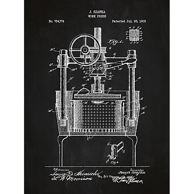 Inked and Screened Alcohol and Spirits 'Wine Press' Silk Screen Print Graphic Art