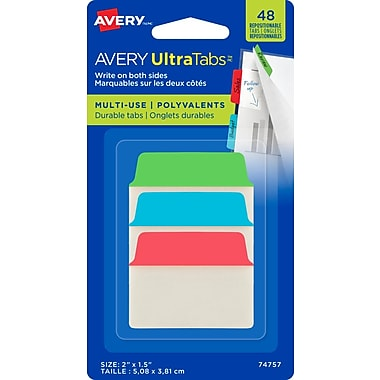 Avery® - Onglets Ultra, 2 po x 1,5 po, couleurs primaires, paq./48 (74757)
