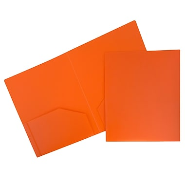 JAM Paper® Plastic Heavy Duty Two Pocket Folders, Orange, 12/Pack (383Horg)