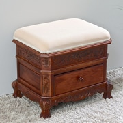 International Caravan Windsor Hand Carved Vanity Stool w/ Cushion