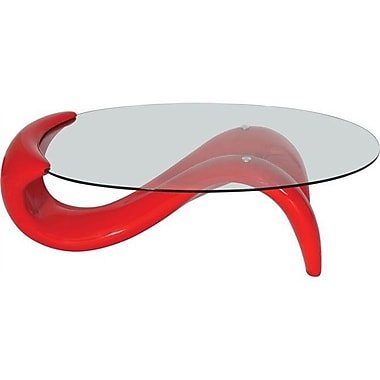Fab Glass and Mirror Coffee Table; Red