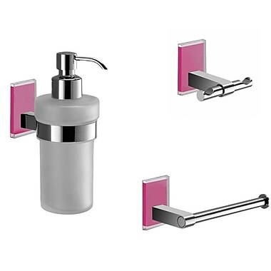 Gedy by Nameeks Maine 3 Piece Bathroom Hardware Set; Pink
