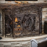Home Loft Concepts Hayward 3 Panel Iron Fireplace Screen; Brown