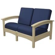 Trex Rockport Club Deep Seating Sofa w/ Cushions; Sand Castle / Navy