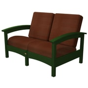 Trex Rockport Club Deep Seating Sofa w/ Cushions; Rainforest Canopy / Chili