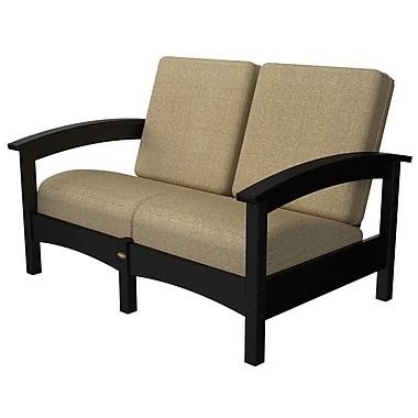 Trex Rockport Club Deep Seating Sofa w/ Cushions; Charcoal Black / Sesame