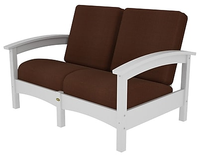 Trex Rockport Club Deep Seating Sofa w/ Cushions; Classic White / Chili