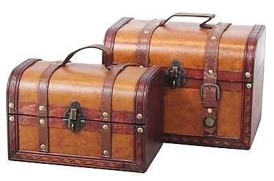 Quickway Imports Decorative 2 Piece Leather Treasure Box Set