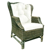 D-Art Collection Rattan Wicker Wingback Chair w/ Cushions