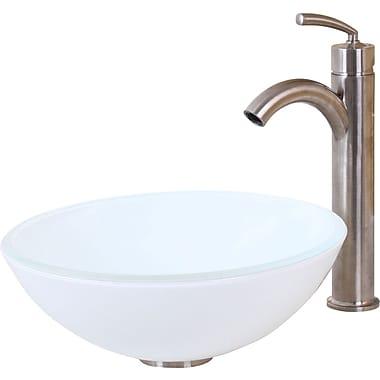 Elimaxs Elite Double Layered Tempered Circular Vessel Bathroom Sink; Brushed Nickel