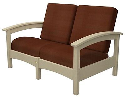 Trex Rockport Club Deep Seating Sofa w/ Cushions; Sand Castle / Chili