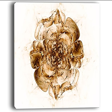DesignArt 'Brown Fractal Flower' Graphic Art on Wrapped Canvas in White; 20'' H x 12'' W x 1'' D