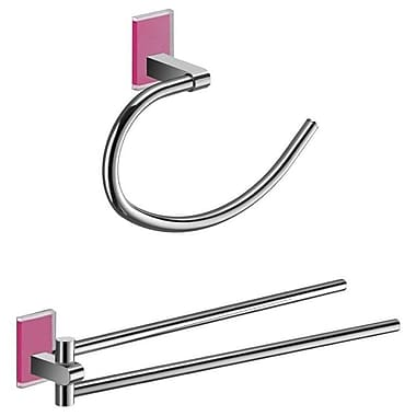 Gedy by Nameeks Maine 2 Piece Bathroom Hardware Set; Pink