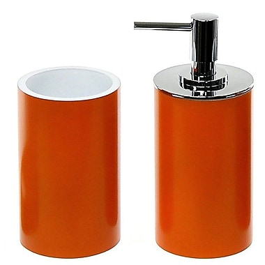 Gedy by Nameeks Yucca 2-Piece Bathroom Accessory Set; Orange