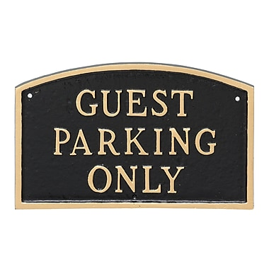 Montague Metal Products Large Arch Guest Parking Only Statement Plaque Sign; Black/Gold