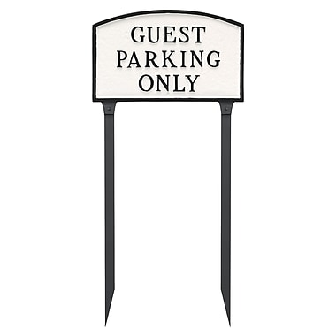 Montague Metal Products Large Arch Guest Parking Only Statement Garden Sign; White/Black