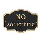 Montague Metal Products Petite Montague No Soliciting Statement Plaque Sign; Black/Gold