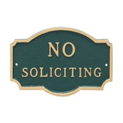 Montague Metal Products Petite Montague No Soliciting Statement Plaque Sign; Hunter Green/Gold
