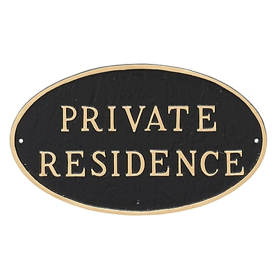 Montague Metal Products Standard Oval Private Residence Statement Plaque Sign; Black/Gold