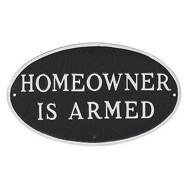 Montague Metal Products Small Oval Homeowner Is Armed Statement Garden Plaque; Black/Silver