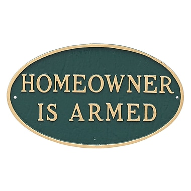 Montague Metal Products Large Oval Homeowner Is Armed Statement Plaque Sign; Hunter Green/Gold