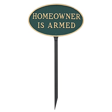 Montague Metal Products Small Oval Homeowner Is Armed Statement Garden Sign; Hunter Green/Gold
