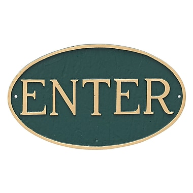 Montague Metal Products Standard Oval Enter Statement Plaque Sign; Hunter Green/Gold