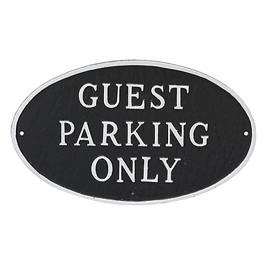 Montague Metal Products Small Oval Guest Parking Only Statement Plaque Sign; Black/Silver