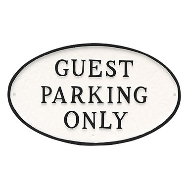 Montague Metal Products Standard Oval Guest Parking Only Statement Plaque Sign; White/Black