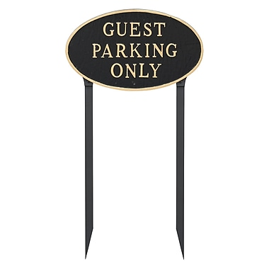 Montague Metal Products Large Oval Guest Parking Only Statement Garden Sign; Black/Gold