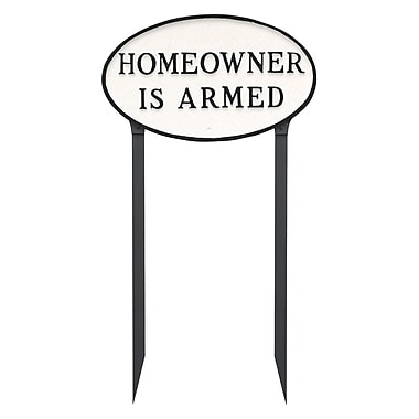 Montague Metal Products Standard Oval Homeowner Is Armed Statement Garden Sign; White/Black