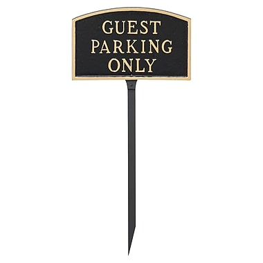 Montague Metal Products Small Arch Guest Parking Only Statement Garden Plaque; Black/Gold
