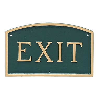 Montague Metal Products Small Arch Exit Statement Garden Plaque; Hunter Green/Gold