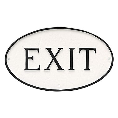 Montague Metal Products Small Oval Exit Statement Plaque Sign; White/Black