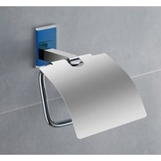 Gedy by Nameeks Maine Wall Mounted Toilet Paper Holder w/ Cover; Blue