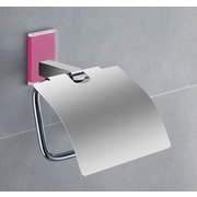 Gedy by Nameeks Maine Wall Mounted Toilet Paper Holder w/ Cover; Pink