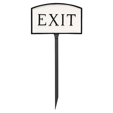 Montague Metal Products Small Arch Exit Statement Garden Sign; White/Black