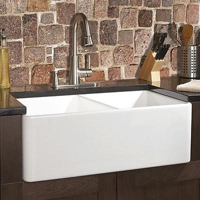 Fine Fixtures Fireclay 32'' x 20'' Butler Reverse Apron Double Kitchen Sink