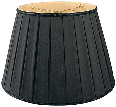 RoyalDesigns Timeless 14.5'' Silk/Shantung Empire Lamp Shade; Black/Gold