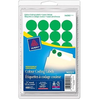 Avery – Étiquettes de codage couleur, cercle, laser/jet d'encre, vert, paq./480 (AVE14202)