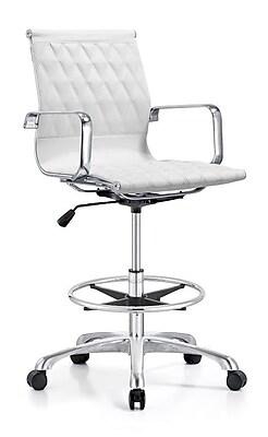 Woodstock Marketing Annie Mid-Back Drafting Chair; White WYF078279392892