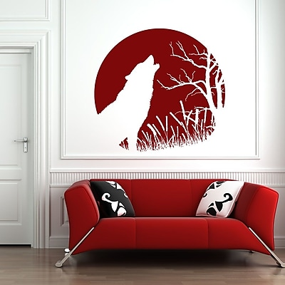 Style and Apply Howling Wolf Wall Decal; Beige